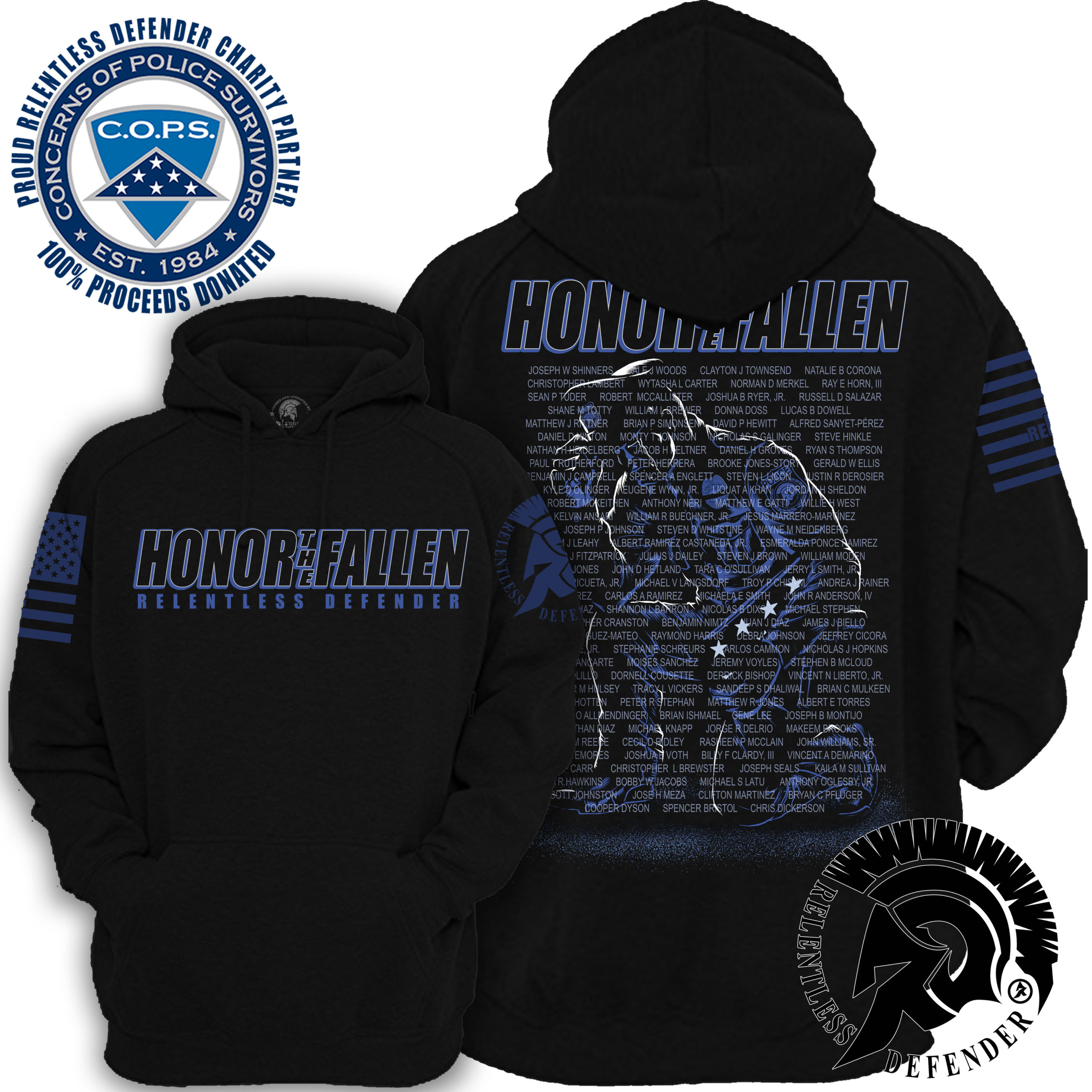 Police Logo Cops Officer First Responder Boys in Blue Hoodie Pullover